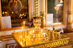 Altar with cross and candles Royalty Free Stock Photos