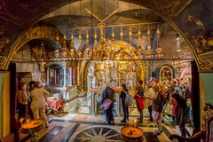 Altar of the Crucifixion in Holy Sepulchre Church Royalty Free Stock Images