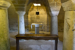 Altar in the crypt of a church Royalty Free Stock Images