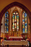 Altar de la iglesia de Hunawihr Fotos de archivo