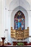 Altar de St Mary Basilica em Gdansk, Polônia Fotos de Stock