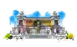 Altar del della Patria 1925 de Altare de la patria Plaza Venezia Vittorio Emanuele II en Roma, Italia Bosquejo con el wat colorid ilustración del vector