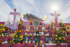 Altar on display at the 15th annual Day of the Dead Festival. Los Angeles, CA - November 1, 2014: Altar on display at the 15th annual Day of the Dead Festival ( royalty free stock photography
