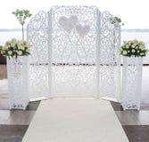 Altar do branco do casamento Foto de Stock
