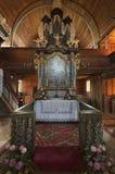 Altar en iglesia articular en Hronsek Fotografía de archivo