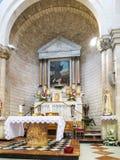 Altar en la iglesia del primer milagro, Kefar Cana Fotos de archivo