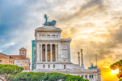 Altar of the Fatherland profile at sunset in Rome, Italy Royalty Free Stock Photos