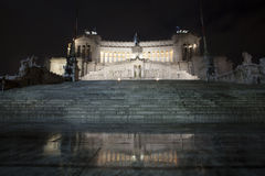 Altar of the fatherland temple (Piazza Venezia - Roma) Night Stock Photos