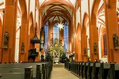 Altar and font town church Bayreuth stock photos