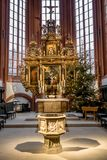 Altar and font town church Bayreuth Royalty Free Stock Images
