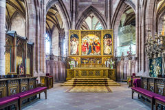 Altar in the Freiburg Minster. FREIBURG, GERMANY - JULY 4, 2014: beautiful altar of the minster in Freiburg, Germany. The Altar was created by Hans Baldung Grien Royalty Free Stock Photography