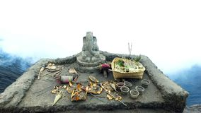 Altar with Ganesha hindu God on top of the bromo volcano crater on Java Indonesia stock video footage