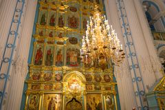 The altar and the iconostasis. ISTRA, RUSSIA - JANUARY 3, 2017: The altar and the iconostasis of the Voskresensky New-Jerusalem Stavropegial male monastery Royalty Free Stock Photo