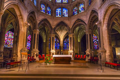 Altar Interior Stained Glass Saint Severin Church Paris France Royalty Free Stock Photography