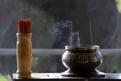 Altar and joss stick in the chinese temple Stock Photography