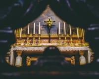 Altar lateral en San Miguel y Cajatan fotografía de archivo