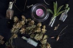 Altar mágico com ingredientes fotografia de stock royalty free