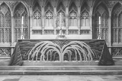 Altar maggiore nell'abbazia BW del bagno Immagini Stock Libere da Diritti
