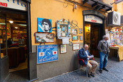 Altar of Maradona outside the bar Nilo in Naples Royalty Free Stock Photography
