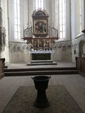 Altar - medieval church in Sighisoara, Romania. Inside of a gothic initialy romano-catholic medieval church in Sighisoara medieval city. The Church from the Hill stock images