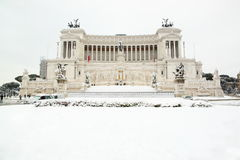 The Altar of Motherland covered by snow. The Alter of Motherland covered by snow, a really rare event in Rome Stock Photography