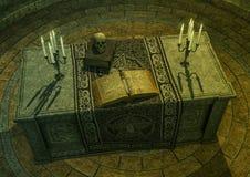 Altar oscuro con un libro del encanto mágico, las velas, el cuchillo y un cráneo Imagen de archivo libre de regalías