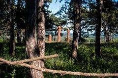 Altar pagano real en el bosque con los ídolos en luz del verano Fotos de archivo libres de regalías