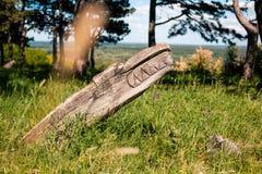 Altar pagano real en el bosque con los ídolos en luz del verano Fotografía de archivo libre de regalías