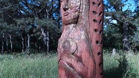 Altar pagano real en el bosque con los ídolos en luz del verano almacen de video