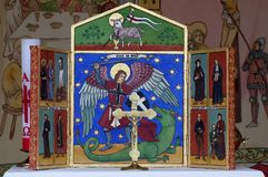Altar painting St. George religion objects Royalty Free Stock Photos
