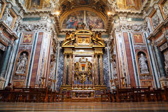 Altar in Papal Basilica of Saint Mary Major. Luxury gold decoration stock photos