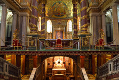 Altar in Papal Basilica of Saint Mary Major. Luxury gold decoration royalty free stock photos