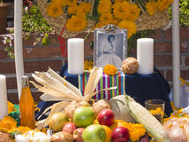 Altar with photo of the dead person at Olvera street Royalty Free Stock Photography