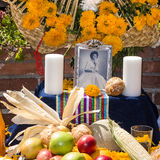 Altar with photo of the dead person at Olvera street Stock Photos