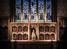 Altar piece depicting Mary and Jesus. At Llandaff Cathedral, Cardiff, Wales Stock Images