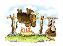 Altar of sacrifice mammoth fire antiquity firewood. Spit skin pagan cartoon figure Royalty Free Stock Images