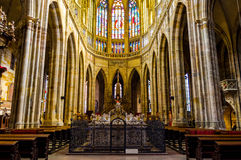 Inside saint vitus cathedral 3. The altar in saint vitus cathedral in prague, czech republic Stock Image