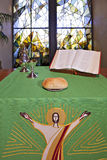 An altar set for Communion Royalty Free Stock Photography