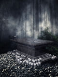Altar with skulls in a forest Royalty Free Stock Photography