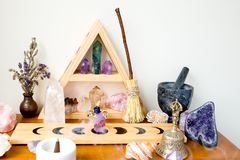 Altar Space - Witch, Wicca, New Age, Pagan with Moon Phase design. Altar Space - Witch, Wicca, New Age, Pagan with Crystal Shelf and Altar tile with Moon Phase stock photography