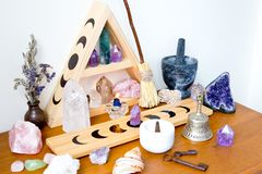 Altar Space - Witch, Wicca, New Age, Pagan with Moon Phase design. Altar Space - Witch, Wicca, New Age, Pagan with Crystal Shelf and Altar tile with Moon Phase royalty free stock photo