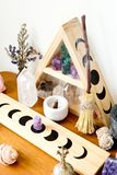 Altar Space - Witch, Wicca, New Age, Pagan with Moon Phase design. Altar Space - Witch, Wicca, New Age, Pagan with Crystal Shelf and Altar tile with Moon Phase royalty free stock images