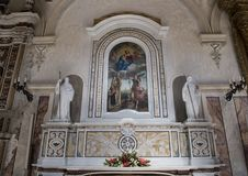 Altar of St. John of Matera in Matera Cathedral with painting Madonna and child Royalty Free Stock Image