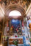 Altar of St. Peter cathedral - Vatican. Inside st. Peter cathedral - People and tourists stroll at Historical place old Rome Italy 20 may 2016 Stock Photos