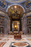 Altar of St. Peter`s Basilica. Vatican, Altar of St. Peter s Basilica from inside Royalty Free Stock Photo