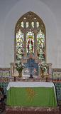 Altar & Stained Glass Window Royalty Free Stock Images