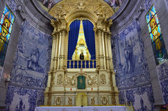 Altar with the statue of a saint Royalty Free Stock Photos