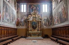 The altar with statues of Jesus and the icons in the church over the Mamertine prison near the Roman Forum in Italy Royalty Free Stock Photography
