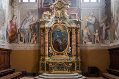 The altar with statues of Jesus and the icons in the church over the Mamertine prison near the Roman Forum in Italy Stock Images