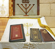 Altar in the synagogue. Altar in the synagogue with the veil and the sacred books Royalty Free Stock Images